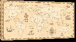 Toiles imprimées Carte du monde effet antique vintage avec noms de pays en Anglais