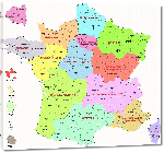 Toiles imprimées Carte des départements de France