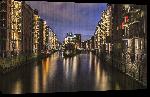 Toiles imprimées Photo de nuit de la ville de Hambourg en Allemagne