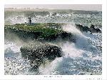Affiche  Avis de coup de vent sur le phare de la pointe des Poulains à Belle-Ile