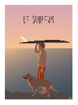 Poster photo illustration Le surfeur