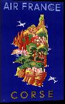 Impression sur aluminium Affiche ancienne de carte de Corse