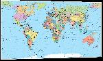 Impression sur aluminium Carte du monde détaillé planisphère