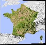 Impression sur aluminium Carte des reliefs en France
