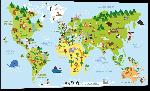 Impression sur aluminium Carte monde effet cartoon avec illustration