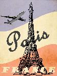 Affiche vintage illustration rétro tour eiffel Paris