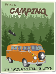 Impression sur aluminium Affiche illustration camping l'aventure commence