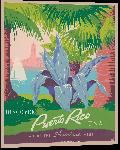 Impression sur aluminium Affiche illustration style rétro vintage Porto Rico USA