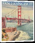 Toiles imprimées Affiche vintage rétro pont de San Francisco