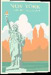 Impression sur aluminium Affiche style vintage rétro New York