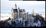 Impression sur aluminium Photo du chateau sous la neige Neuschwanstein en Bavière en Allemagne