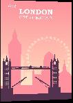 Impression sur aluminium Illustration style rétro vintage Londres rose