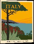 Impression sur aluminium Affiche illustration vintage rétro italie