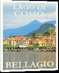 Toiles imprimées Affiche publicitaire illustration lac de come en Italie