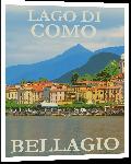 Impression sur aluminium Affiche publicitaire illustration lac de come en Italie