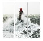 Tableau toile triptyque Le phare de la Jument - Tempête Petra- Finistère- Bretagne