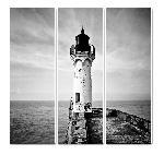 Toile triptyque noir blanc Le phare de Saint-Valéry-en-Caux - N&B