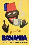 Affiche vintage Banania, petit déjeuner familial
