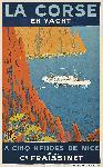 Affiche vintage de Sandy HOOK La Corse en yacht