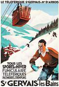 Affiche publicitaire du téléférique de St Gervais les bains