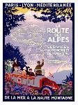 Affiche publicitaire de Roger BRODERS La Route des Alpes
