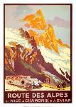 Affiche ancienne de Julien LACAZE Route des Alpes