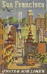 Affiche vintage San Francisco via TWA