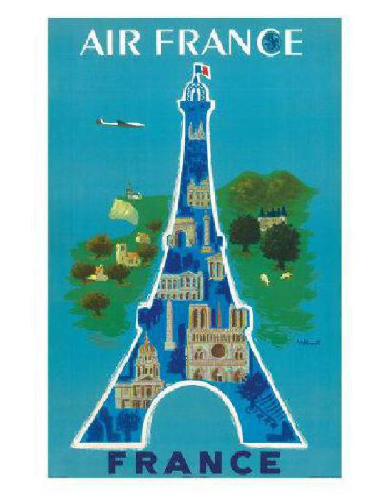 affiche ancienne de bernard villemot air france eiffel tower acheter affiche ancienne de. Black Bedroom Furniture Sets. Home Design Ideas
