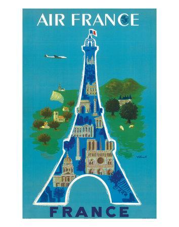 affiche ancienne de bernard villemot air france eiffel tower acheter affiche ancienne de. Black Bedroom Furniture Sets. Home Design Ideas