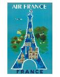 Affiche ancienne de Bernard VILLEMOT Air France Eiffel tower