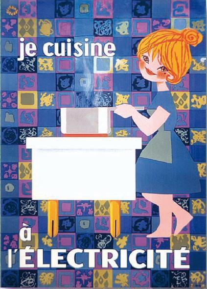 affiches posters affiche vintage de openo lefor je cuisine l 39 lectricit. Black Bedroom Furniture Sets. Home Design Ideas