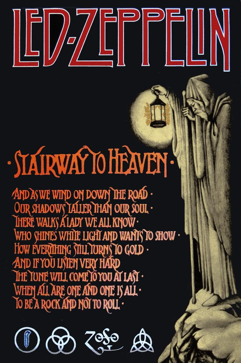 affiche led zeppelin stairway to heaven acheter affiche led zeppelin stairway to heaven. Black Bedroom Furniture Sets. Home Design Ideas