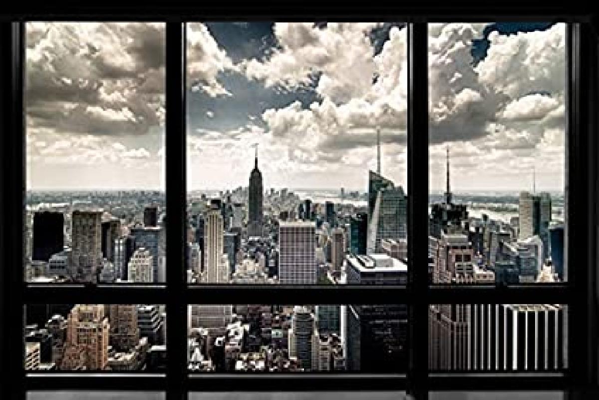 Affiche vue de manhattan new york depuis un appartement acheter affiche v - Acheter un appartement new york ...