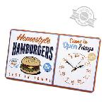 Horloge vintage murale Hamburgers métal 1xAA