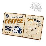 Horloge murale vintage Coffee métal 1xAA