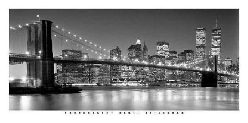 affiche noir et blanc de henri silberman brooklyn bridge. Black Bedroom Furniture Sets. Home Design Ideas