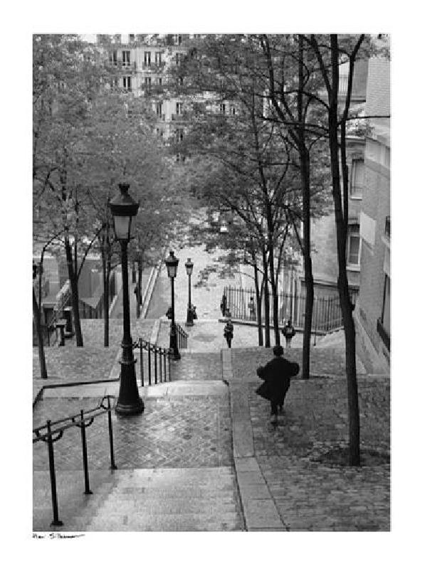poster noir et blanc de henri silberman escaliers montmartre paris acheter poster noir et. Black Bedroom Furniture Sets. Home Design Ideas