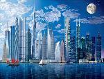 Photo murale de Buildings aux bords de l'eau (8 panneaux à coller)