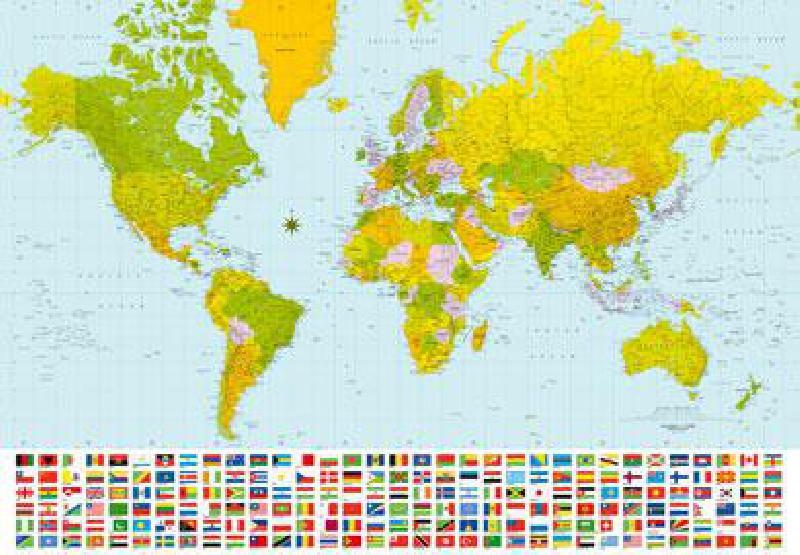 Photo murale d'une carte du monde (8 panneaux à coller)   acheter