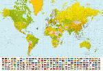 Photo murale d'une carte du monde (8 panneaux à coller)