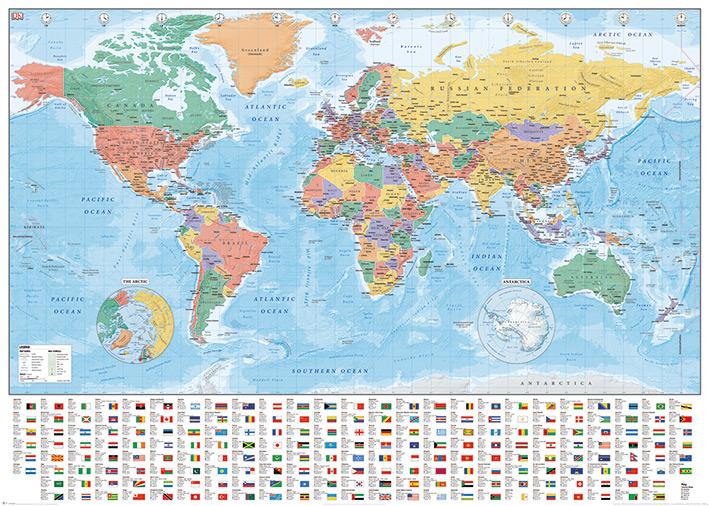 Affiche géante carte du monde avec les drapeaux et les noms (texte