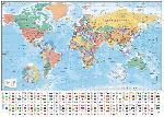 Affiche géante carte du monde avec les drapeaux et les noms (texte en anglais)