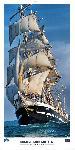 Poster photo Sous l'étrave du Belem, dernier trois-mâts barque français .