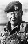 Photo noir et blanc de John Wayne militaire