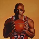 Affiche peinture Michael Jordan ballon de basket