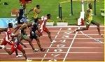 Photo Usain Bolt ligne d'arrivée
