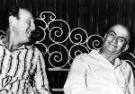 Photo noir et blanc Louis de Funès et Bourvil dans la Grande Vadrouille