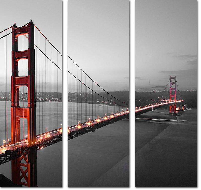 reproduction sur toile imprim e triptyque du golden gate de san francisco acheter reproduction. Black Bedroom Furniture Sets. Home Design Ideas