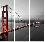 Reproduction sur toile imprimée triptyque du Golden Gate de San Francisco