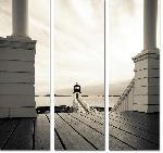 Toile imprimée triptyque phare USA